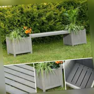 2 Blumenkästen mit Gartenbank in Grau aus Holz Garten Bank Blumenkasten Holzbank
