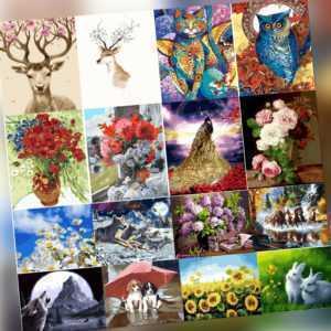 Malen nach Zahlen Kit DIY handgemalte Tiere Blumen Leinwand Öl Kunst Bild