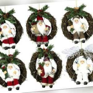 WEIHNACHTSMANN IM KRANZ + LED Beleuchtung Santa Claus Weihnachten DEKO Nikolaus
