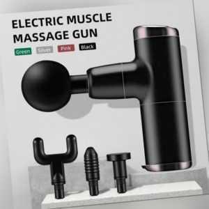 Mini Electric Massage Gun Massagepistole Massager Muscle Massagegerät + 4 Köpfe