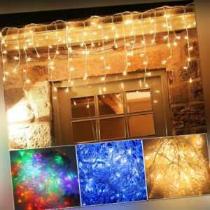 LED Eisregen Lichterkette Weihnachtslichterkette Außen Sternen Strip 10m/15m/20m
