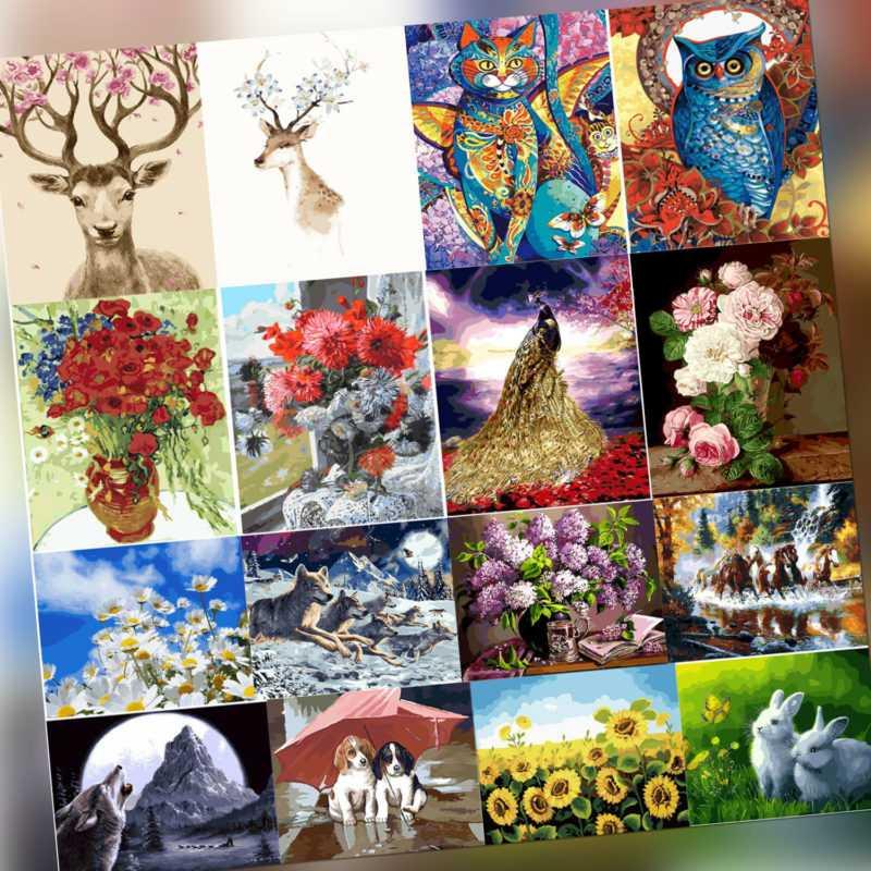 Malen nach Zahlen Kit DIY Tiere Blumen Leinwand Öl Kunst Bild Home Decor
