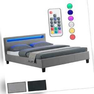 Polsterbett mit LED Doppelbett Jugendbett 140 x 200 cm inkl. Lattenrost
