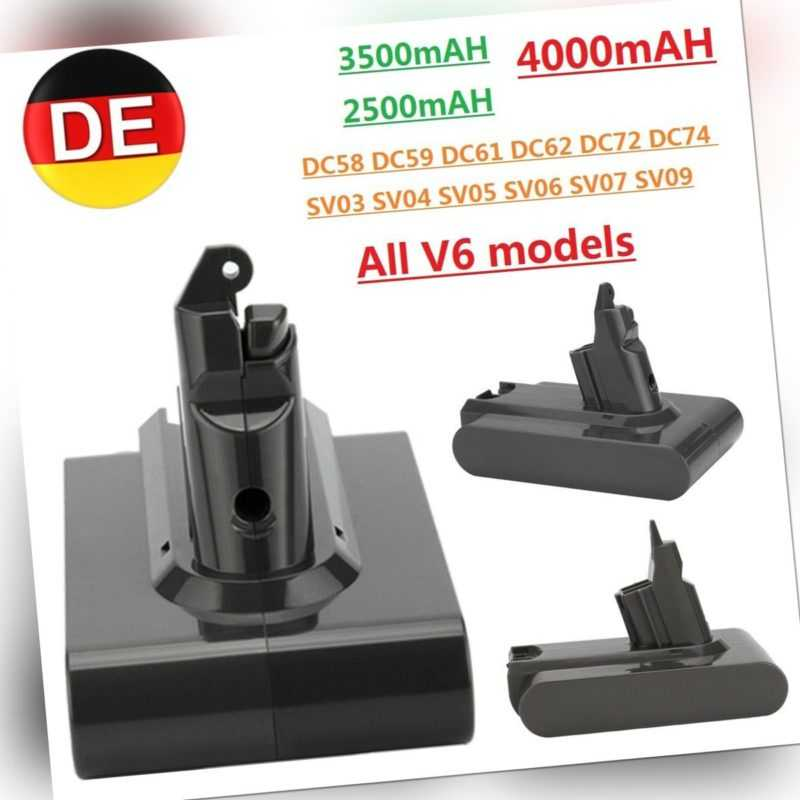 4000mAh 21.6V Li-Ion AKKU für Dyson V6 Animal DC58 DC59 DC61 DC62 SV03 SV05 SV09