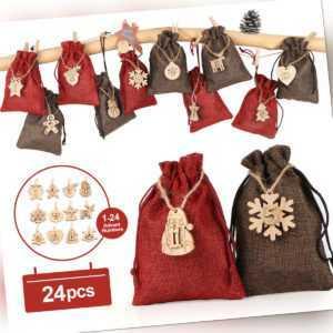 24 stück Adventskalender zum Befüllen Weihnachtskalender Weihnachten Säckchen