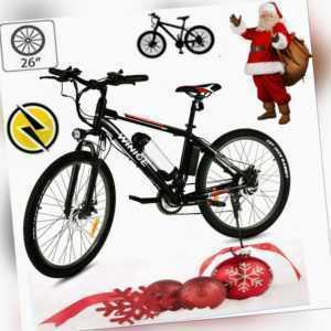 Elektrofahrrad 26 Zoll Mountainbike E-bike 36V 21-Gang Shimano Li-Ion Citybike