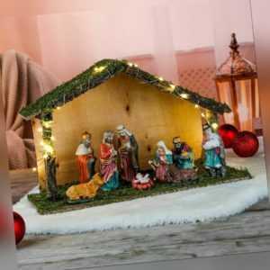 30 LED Weihnachtskrippe Weihnachtsdeko Weihnachten Krippe Holzhaus mit 9 Figuren