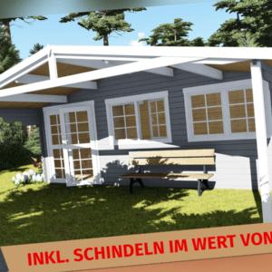 Gartenhaus Holz inkl. Schindeln für 336€ , 6x3M+2.1M 40mm Madrid EB40010SchL