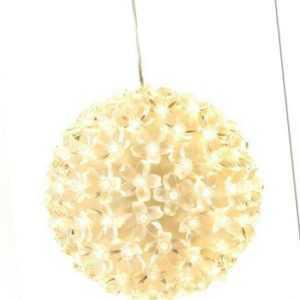 Lichterkugel mit 100 LED weiß beleuchtete Weihnachtskugel Kristall Leuchtkugel