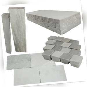 Naturstein Sky Grey indischer Sandstein Palisaden Bodenplatten Blockstufen Grau