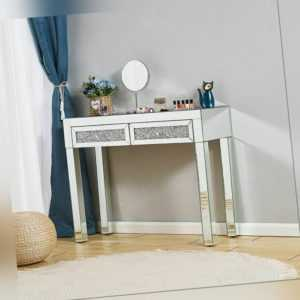 Dressing Makeup Table Stool Mirrored Console Glass Desk 2 Drawer Bedroom Display