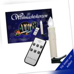 LED Weihnachtskerzen 20er Set kabellos für Außen und Innen, inkl. Batterien