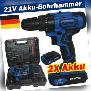 21V Akku Schlagbohrschrauber Akkuschrauber Bohrmaschine 2 Gang LED Akku Bohrer