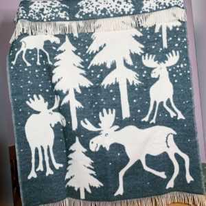 """100% Merinowolle Plaid Wolldecke """"Elche im Schnee"""" 130x170 cm,"""