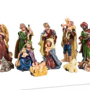 Krippenfiguren Set 11-tlg bis 9cm groß Weihnachtskrippe Zubehör Grippenfiguren