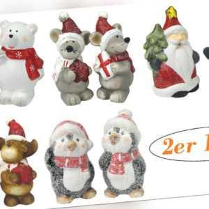 Weihnachtsfiguren - Weihnachtsdeko - 2er Set aus Keramik, verschiedene Motive