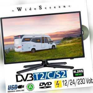 Gelhard GTV-1982PVR LED Fernseher 19 Zoll TV DVD DVB-S/S2/T/T2/C 230/12/ 24 Volt