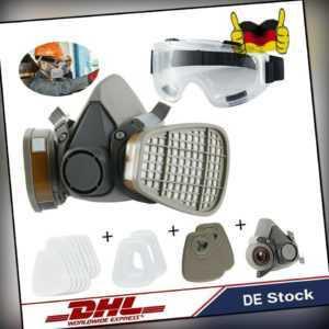 Wiederverwendbare Halbgesichtsabdeckung Lackabdeckung Staubmaske+Schutzbrille DE