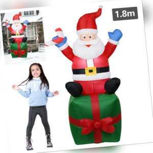 Weihnachtsmann Aufblasbarer Dauergebläse Bär Schneemann LED Deko 180cm