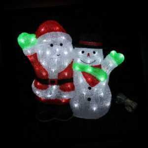 Acryl Santa Claus Schneemann 90 LED kaltweiß Weihnachtsdeko Weihnachtsmann außen