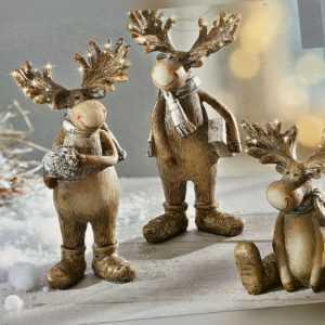 3 Elche NEU Dekofiguren NEU für Weihnachten