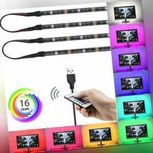 4x RGB LED TV Streifen Backlight Hintergrund-Beleuchtung USB Licht-Band Stripes