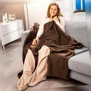 2x TV Decke mit Ärmeln & Tasche Doppelpack | Ärmeldecke |