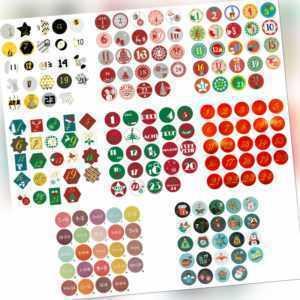 24 Adventskalender Sticker Zahlen Aufkleber für Weihnachten Basteln - wählbar