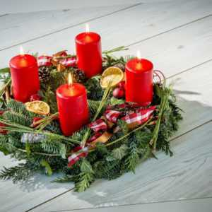 4 Adventskranz Kerzen Rot Weihnachten Advent Kerze Weihnachtskerze Stumpenkerzen