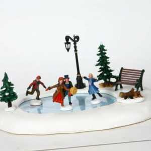 Lemax Winter Skating, Animierte Schlittschuhbahn, Weihnachtsdorf, Winterdorf,