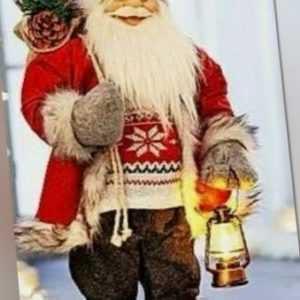 XL Nikolaus Santa Claus Weihnachtsmann mit Led Laterne Weihnachtsdeko Rot 60cm