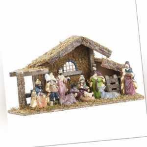Krippe: Hochwertige Holz-Weihnachtskrippe, große handbemalte Porzellan-Figuren