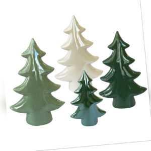Keramik Weihnachtsbäume 4 er Set grün weiss Tischdeko Deko Weihnachten Gesteck
