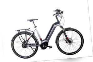 28 Zoll TechniBike City Pedelec E Bike Riemen Antrieb Nu Vinci grau rot Gr.M