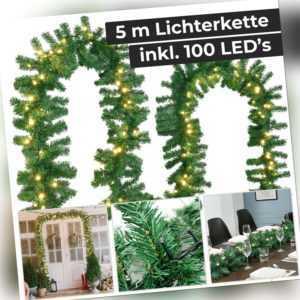 Weihnachtsgirlande Tannengirlande Girlande LED Weihnachtsdeko künstlich Juskys®