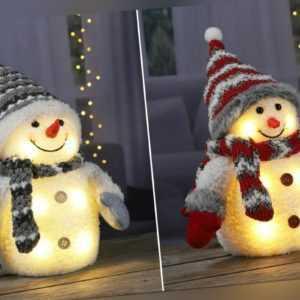 Dekofigur Schneemann LED Beleuchtung Licht Weihnachten Weihnachtsdeko Figur Deko