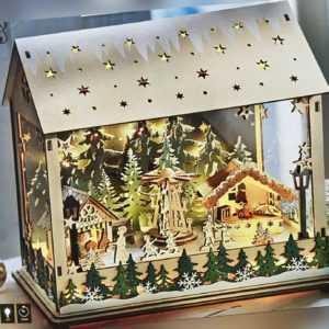 Deko Weihnachtsmarkt NEU mit Spieluhr und LED Licht