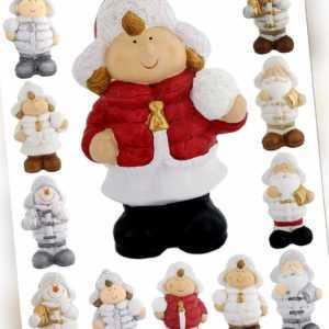 Deko Figur Weihnachten Keramik Wichtel Weihnachtsmann Junge Mädchen Schneemann