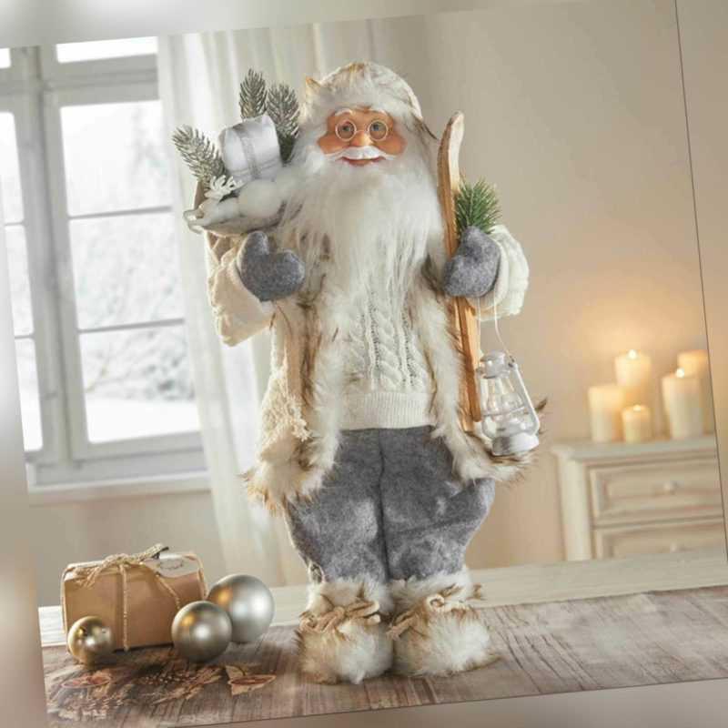 Weihnachtsmann Nikolaus Weihnachten Santa weiß mit Ski Geschenke Dekofigur 46 cm
