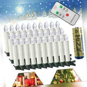 Weihnachtskerzen 30x Kabellose Warm LED Christbaumkerzen +Batterie Fernbedienung