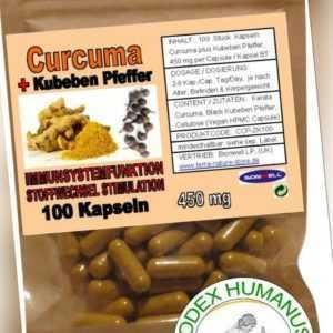100 Kapseln 450 mg Kerala Curcuma + Kub. Pfeffer. ENTZÜNDUNG LYMPHE STOFFWECHSEL