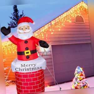 Aufblasbarer Weihnachtsmann Figur Santa Außendeko LED Beleuchtet Weihnachtsdeko