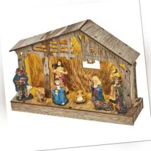 LED Weihnachtskrippe Weihnachten Deko Holz Krippe 26x19cm Warmweiss Timer