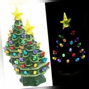 infactory 2 Deko-Weihnachtsbäume aus Keramik mit LED-Beleuchtung, Timer, 19 cm