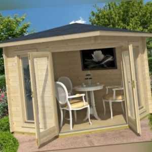 Topangebot Gartenhaus OBAN 40, 260 x 260, 40 mm Doppelnut ISO ! NEU Lasita Maja