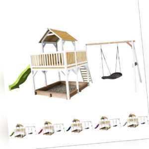 Kinder-Spielhaus Atka Sandkasten Schaukel Rutsche in 5 Farben Holz 277x613x291cm