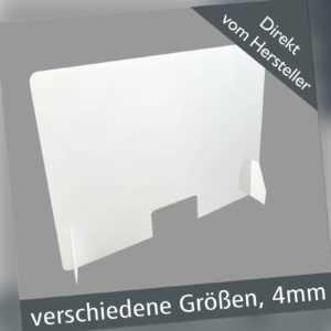 Schutzscheibe Spuckschutz Thekenaufsatz Acrylglas Plexiglas 4mm VARIABLE GRÖßEN