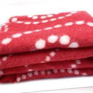 """Wende - Wolldecke Plaid """"Dots Spirale"""" 120x160 cm, Pink rot/ weiß"""