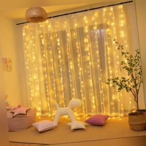 LED Lichtervorhang Lichternetz 3x3M Weihnachten Lichterkette Fenster