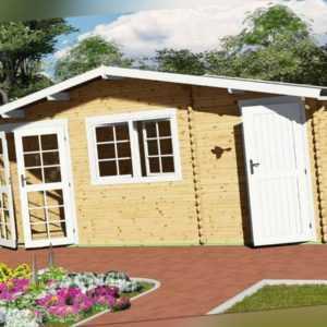 Gartenhaus Holz mit Anbau 2-Raum Blockhaus 6x3M + 0.5M 40mm, Mosel EB40060oFL